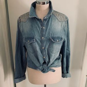 Cool Denim Button Down w/Studs from Top Shop